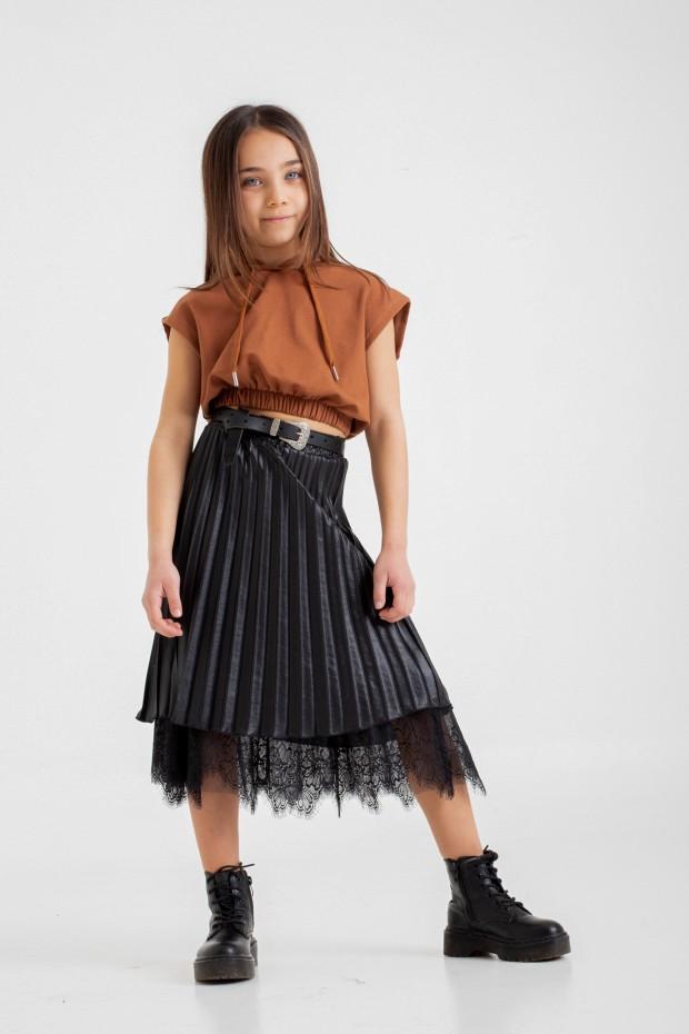 Pleated eco-leather skirt...