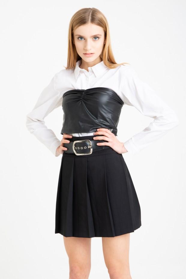 Eco-leather bandeau top