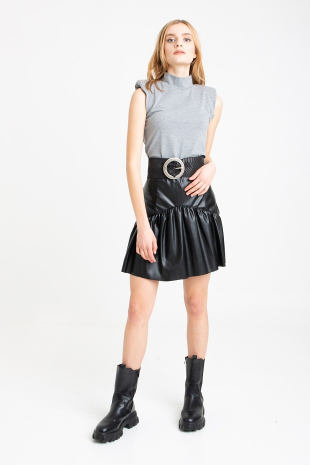 Eco-leather mini skirt with...