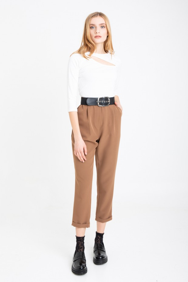 Trousers with turn-ups and...