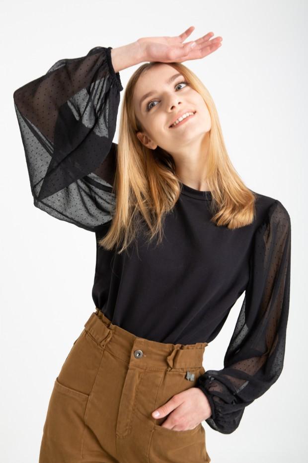 Sweatshirt with plumetis...