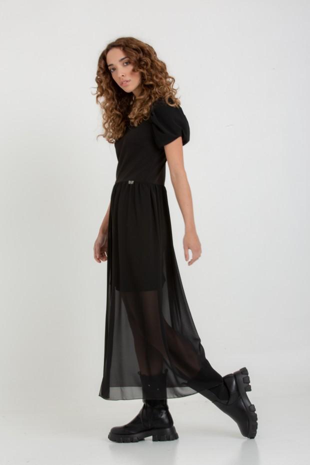 Puffed sleeves long dress