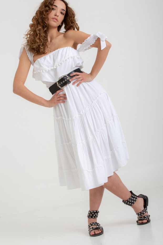 Ruffled midi dress with bows
