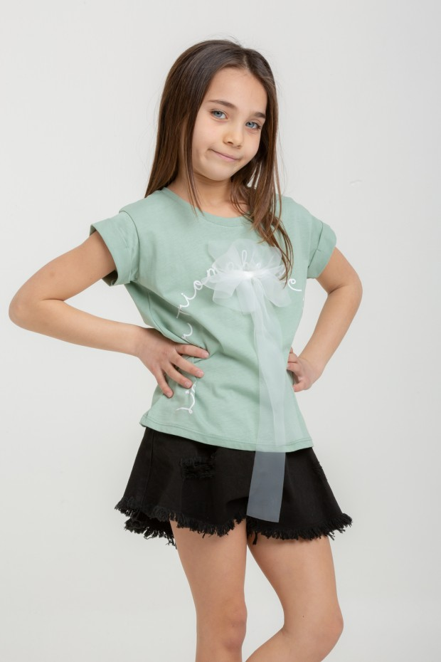T-shirt fiocco in tulle