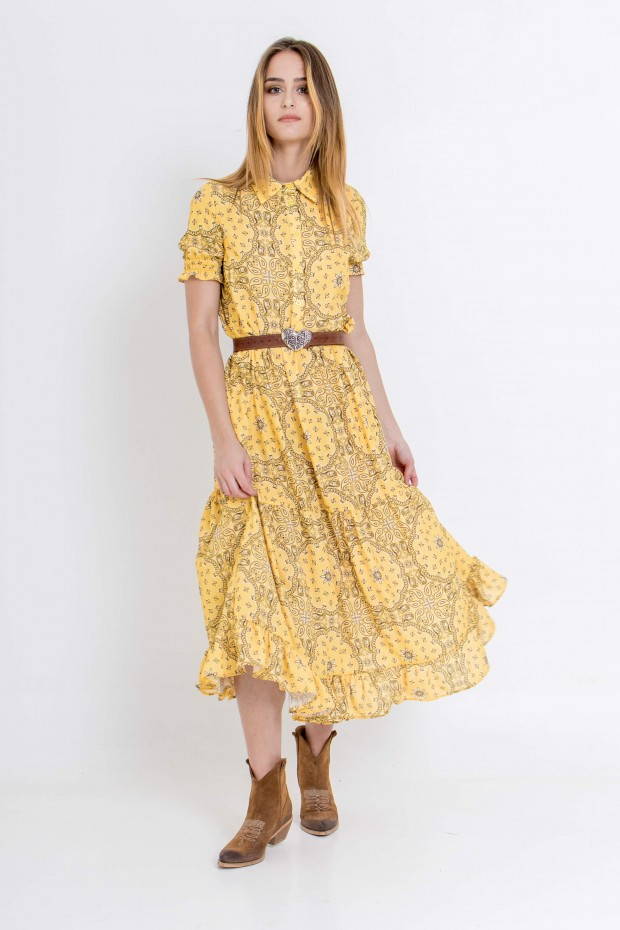Paisley print long dress