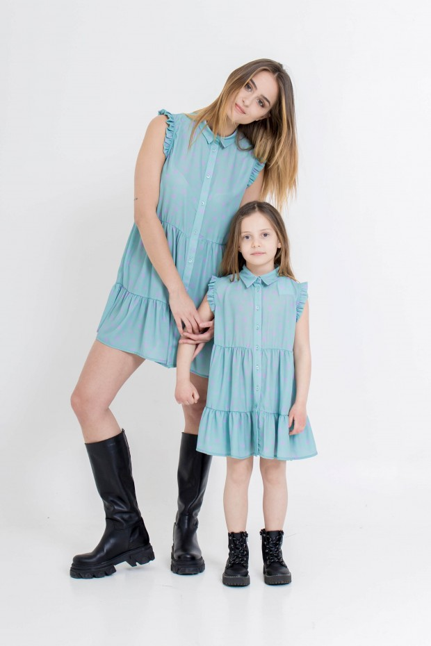 Mini dress fantasia con balze