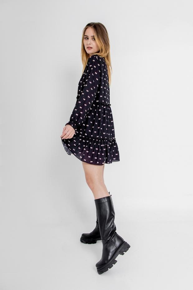 Bow print mini dress