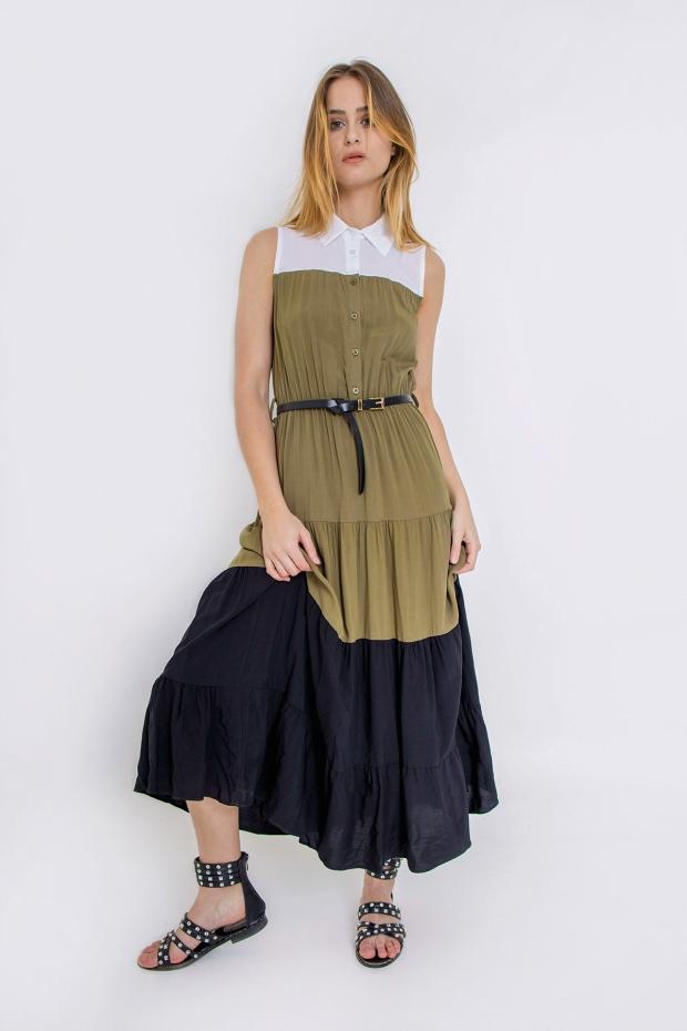Long dress con balze a...
