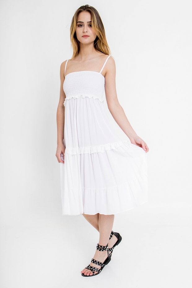 Gathered midi dress with...