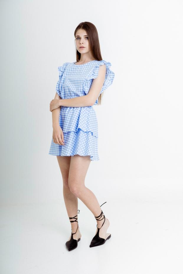 Flounced miniskirt