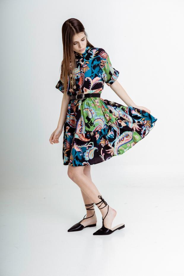 Mini dress with flounce