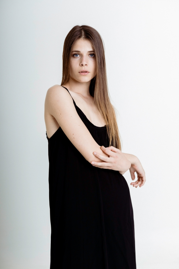 Long dress with flounce