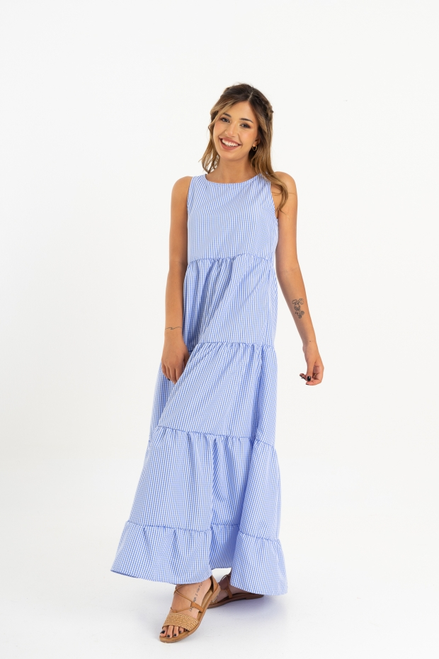 Long dress smanicato in vichy