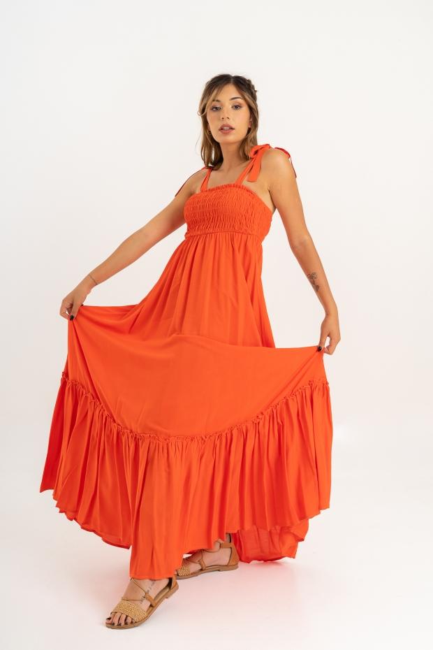Long dress con balza