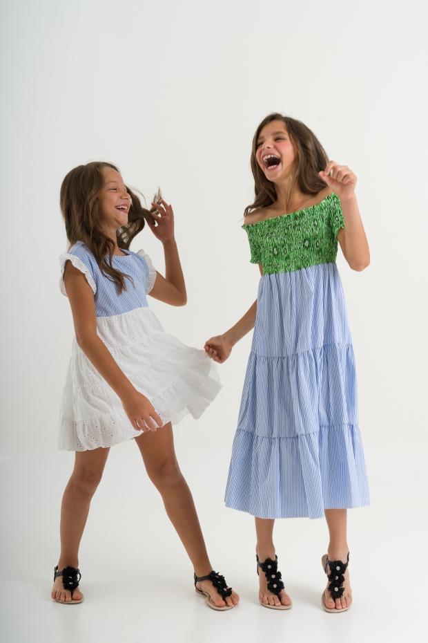 Long dress a righe con...